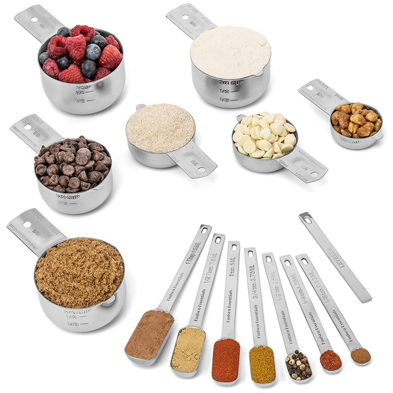 Stainless Steel Measuring Cups and Spoons Set (14 Piece Set)