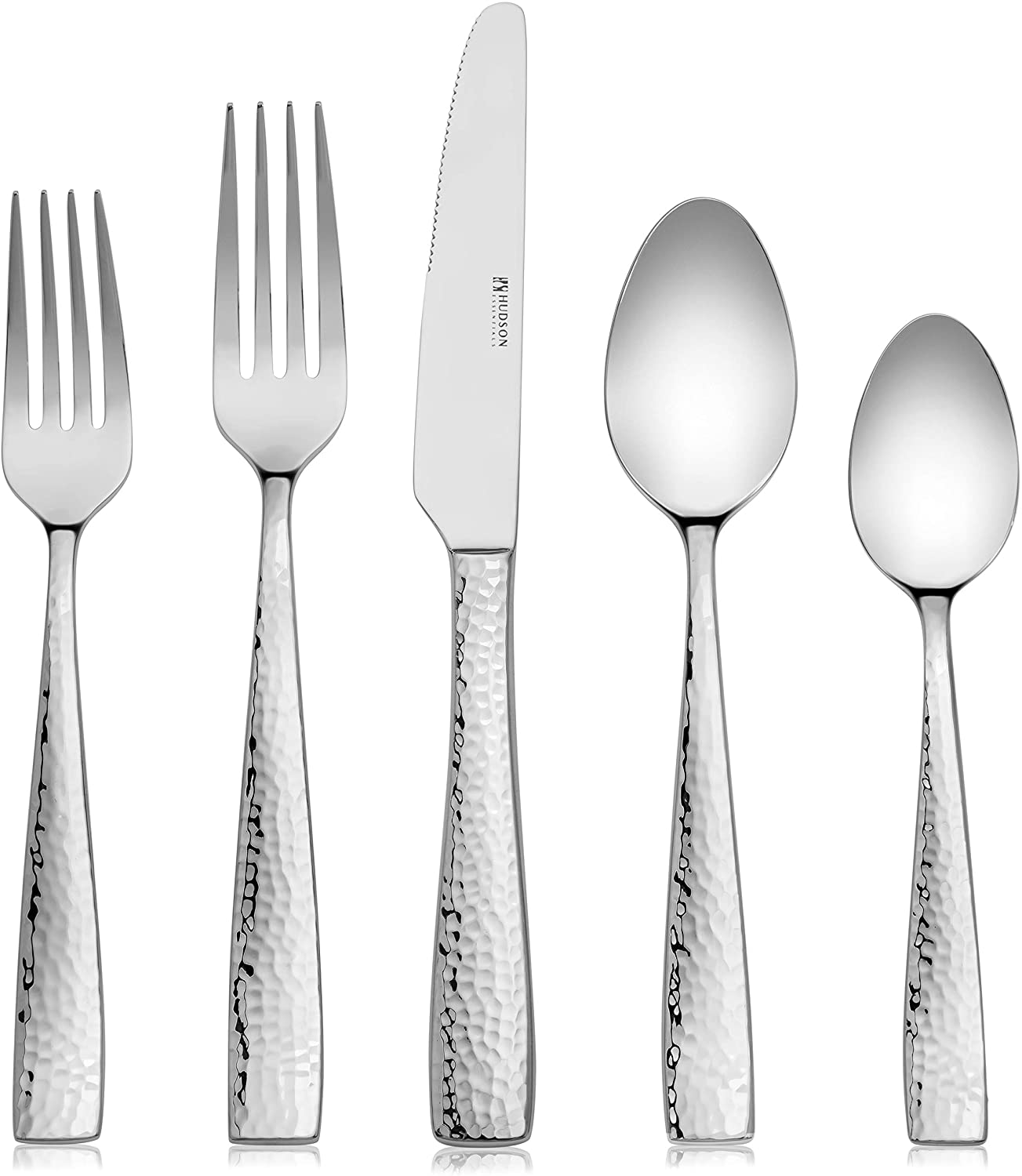 Hudson Essentials 20-Piece Satin Hammered 18/10 Stainless Steel Flatware Silverware Set - Service for 4 (20-Piece Satin Set)
