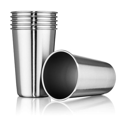 Stainless Steel Tumblers 16 oz - Set of 6 Stackable Tumbler Cups