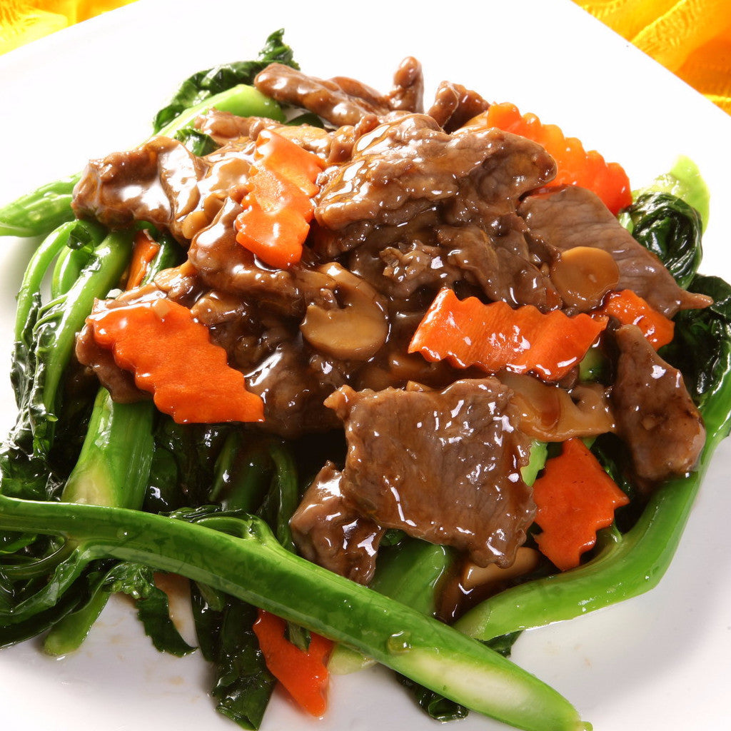 Beef with Chinese broccolis / bebe bok choy - Restaurant PM