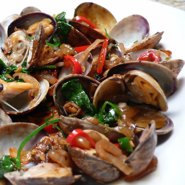 Clams in black bean sauce / Thai sauce / Vermicelli and Chinese Wine - Restaurant PM