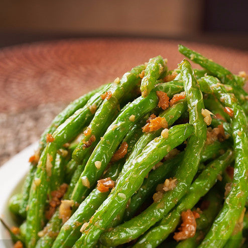 Sautéed minced pork with fresh green beans