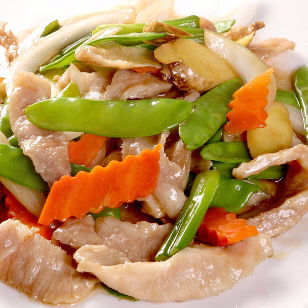 Stir fried sliced AA pork with ginger & shallots / with XO chili sauce