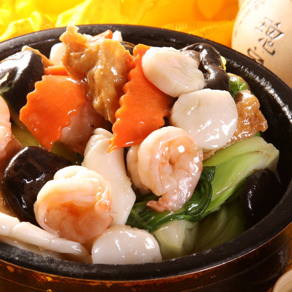 Seafood, tofu and vegetable hot pot