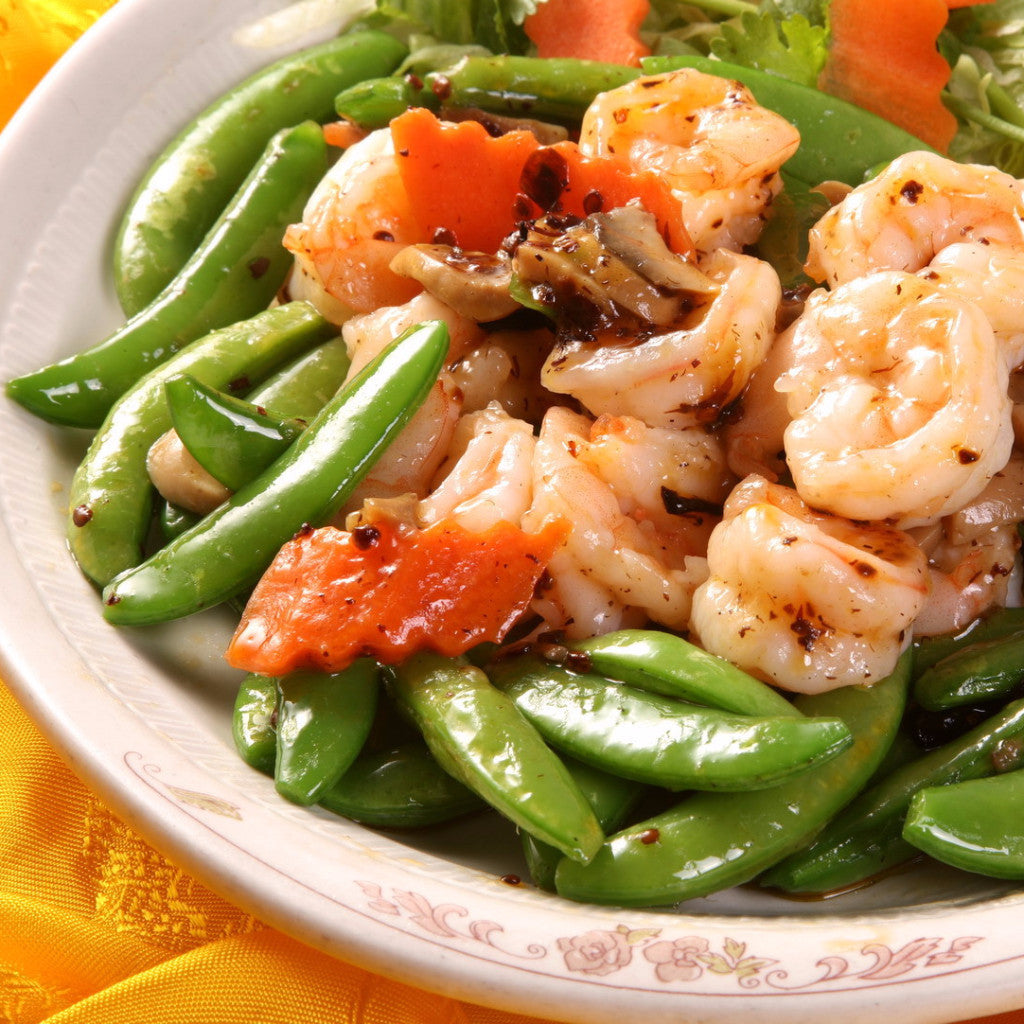 Shrimps sautéed with spicy XO chili sauce and sugar snap / No spicy