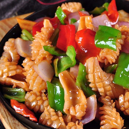 Sizzling stir fried spicy calamari