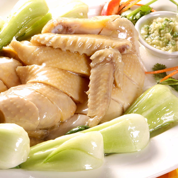 Steamed chicken with Chinese vegetables / Soya sauce (half) - Restaurant PM