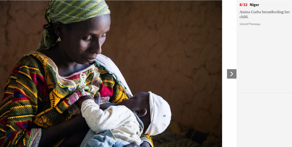 Amina Garba breastfeeding her child, Niger