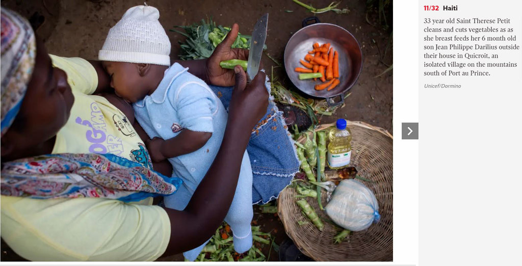 Haiti 33 year old Saint Therese Petit cleans and cuts vegetables as as she breast feeds her 6 month old