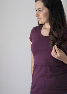 Organic Bshirt Nursing T-shirt in Plum