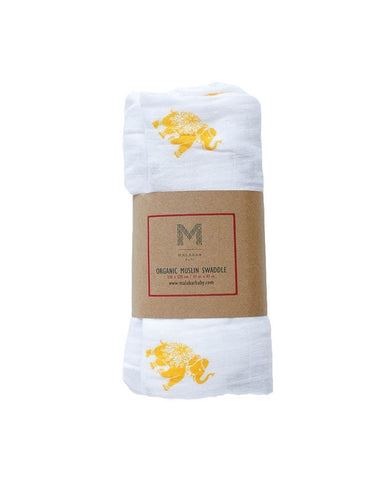 Malabar Baby- Elephant Organic Cotton Swaddle