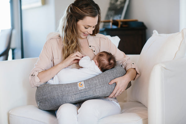 Ergo Natural Curve Nursing Pillow - Grey WITH FREE BSHIRT