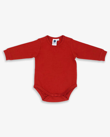 Bbaby Organic Cotton Long Sleeve Bodysuit in Ruby