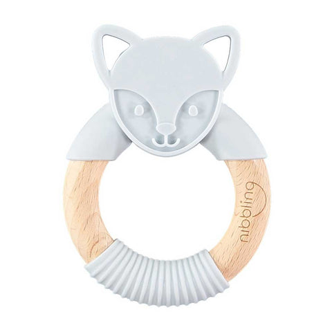 Nibbling - Flex Fox Forest Friends Teething Toy – Grey