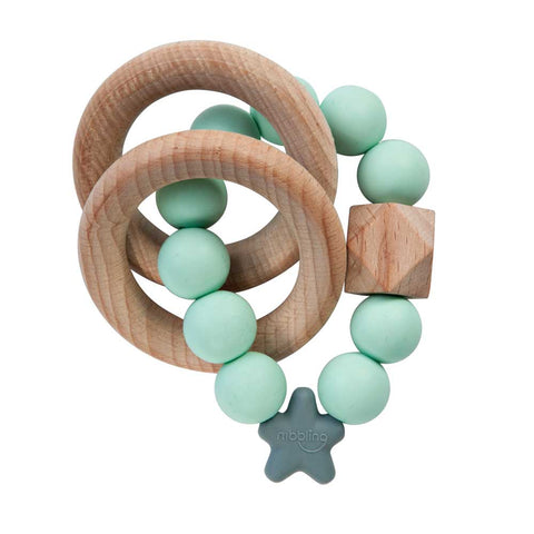 Nibbling - Stellar Natural Wood Teething Toy – Mint