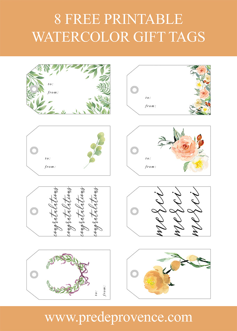 8 Free Printable Watercolor Gift Tags Pre De Provence