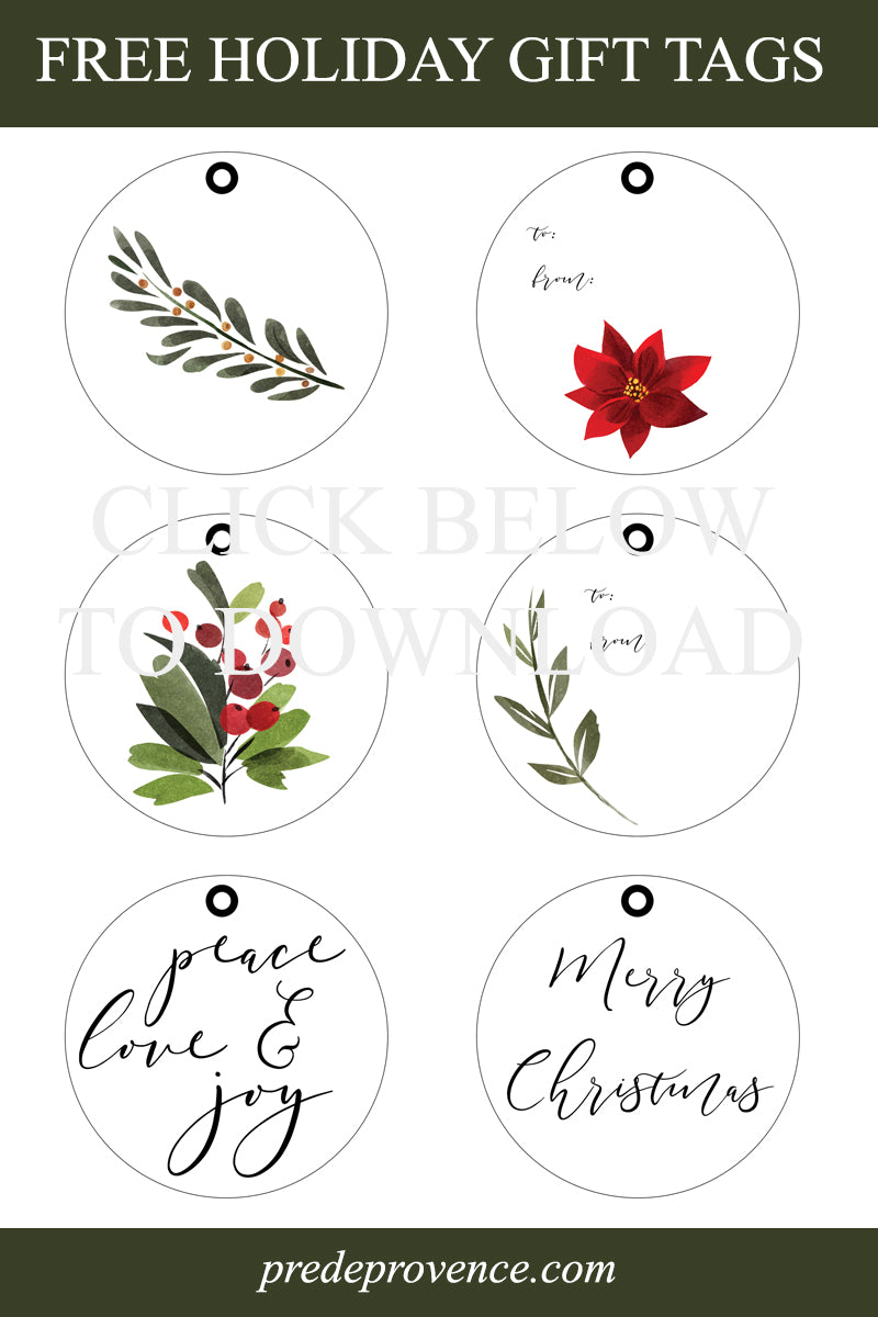 image about Printable Holiday Tags named No cost Printable Vacation Present Tags Pré de Provence