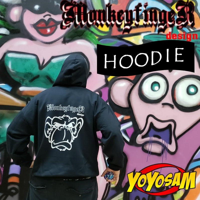MonkeyfingeR Yo-Yo Design Black Hoodie - Zipper Official Cranky Logo Sweatshirt Jacket Hoody - YoYoSam