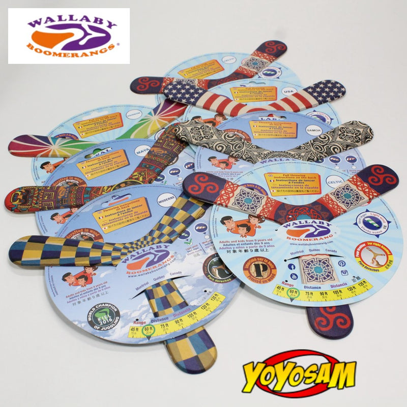 Wallaby Boomerang Three Wing Birch, Hand Crafted, Digitally Printed and Signed, Great for Beginners - YoYoSam