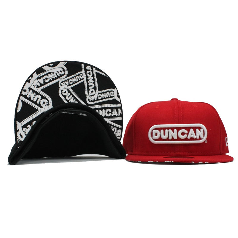 Duncan Yo-Yo Logo Fitted Baseball Cap - New Era Hat with Duncan Logo on Front and Underside of Brim - YoYoSam