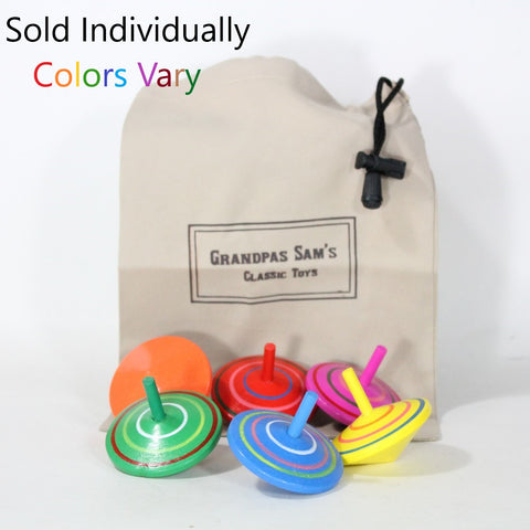 "Grandpa Sam's Mini Wooden Spin Top with Carry Bag - Rotating Gyro 2 1/4"" Spintop - Sold Individually - Colors Vary"