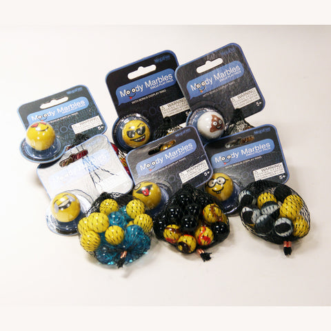 Mega Marbles Moody Marbles Mibsters Emoji Play Pack- 1 Shooter-18 Player Marbles-