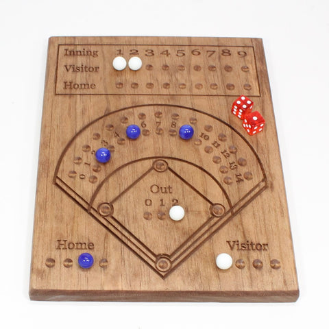 Wooden Dice Baseball Game - Great Handmade Classic Toy - Dice Marbles and instructions Included