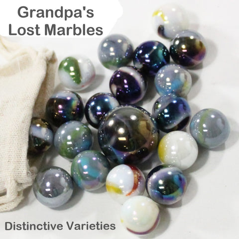 Grandpa's Lost Marbles - Mega Player Marbles - 24 (16mm) Player Marbles & 1 (1'') Shooter with Pouch!