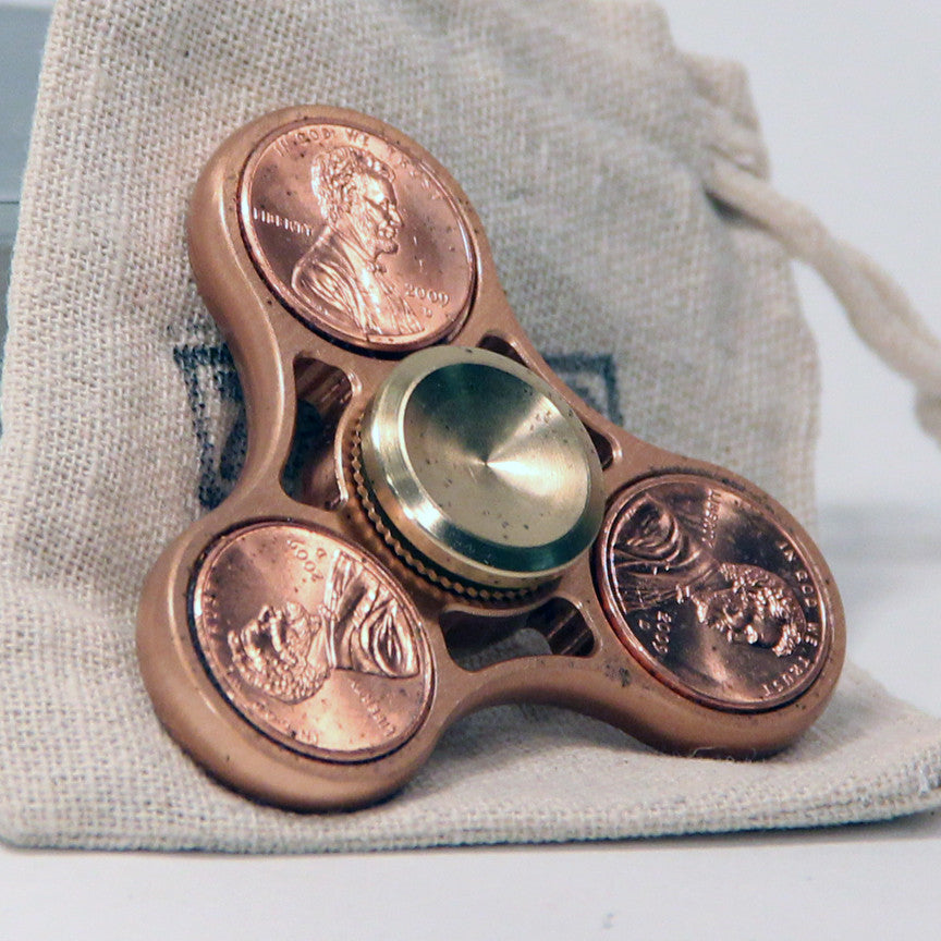 The Triple Penny Fidget Hand Spinner- Brass with Hybrid Bearing