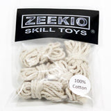 "Zeekio Spin Top Replacement Cotton 60"" String - 5 pack (No Buttons) - White - YoYoSam"