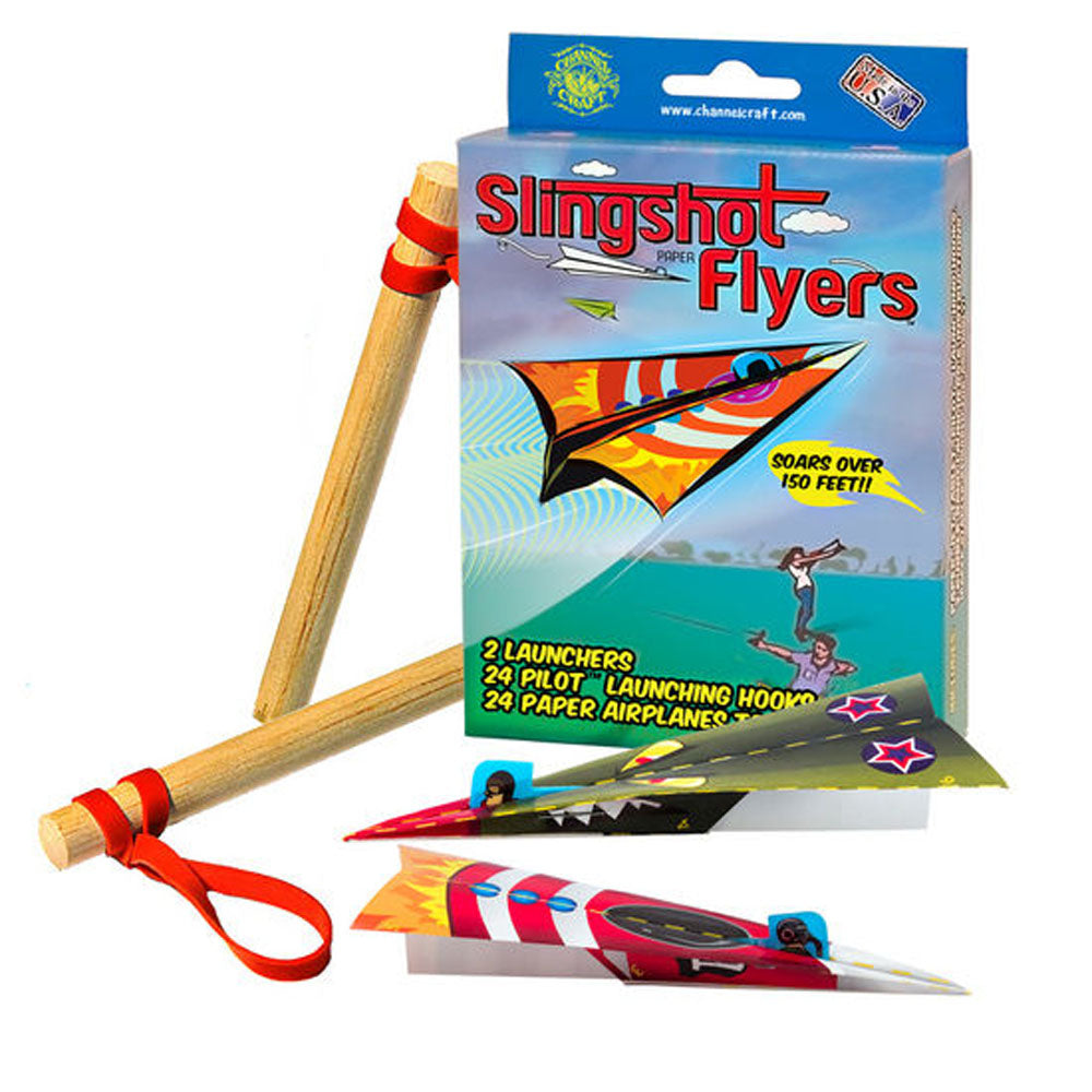 Channel Craft Slingshot Paper Flyers Kit- Comes with 24 Colorful Paper Airplanes!