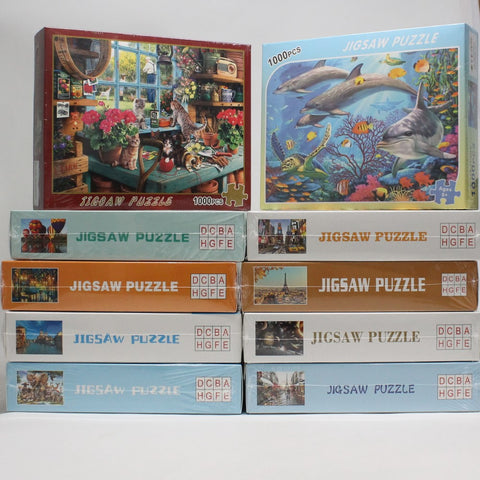 DCBA HGFE 1000 Piece Jigsaw Puzzle - 27.55 x 19.68 in - Learning Tool - Brain Teaser - Memory Game - YoYoSam