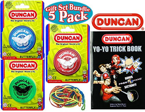 Deluxe Gift Set Bundle 5 Pack-Duncan Yo-Yo Butterfly (3), Trick Book & 5 Strings (Assorted Colors)
