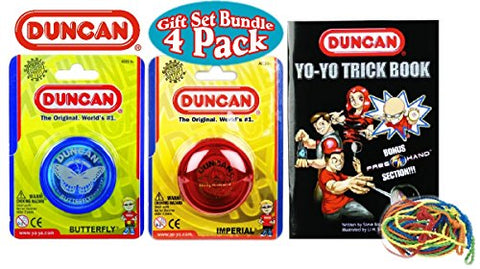 Duncan Deluxe Gift Set - Imperial YoYo, Butterfly YoYo, Trick Book & 5 Pack of Strings - 4 Pack (Assorted Colors)