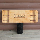 "Zeekio Matrix Rolla Bolla Balance Board - Stained Wood with Etched Grid - 29"" Juggling Prop with Roller - YoYoSam"