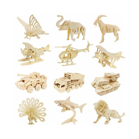 3D Puzzle - Wood Craft Puzzle Kit. Animals, Dinosaur, or Vehicle