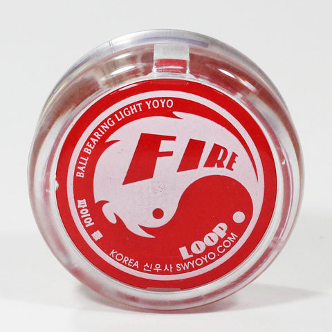 Shinwoo Fire Loop Yo-Yo - Collectible YoYo with Fire Circuit LED Board (Clear / Red)