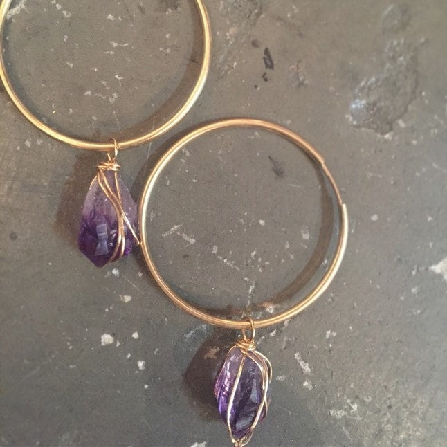 Amethyst Endless Hoops - Locabuy - ANCHOR BOUTIQUE