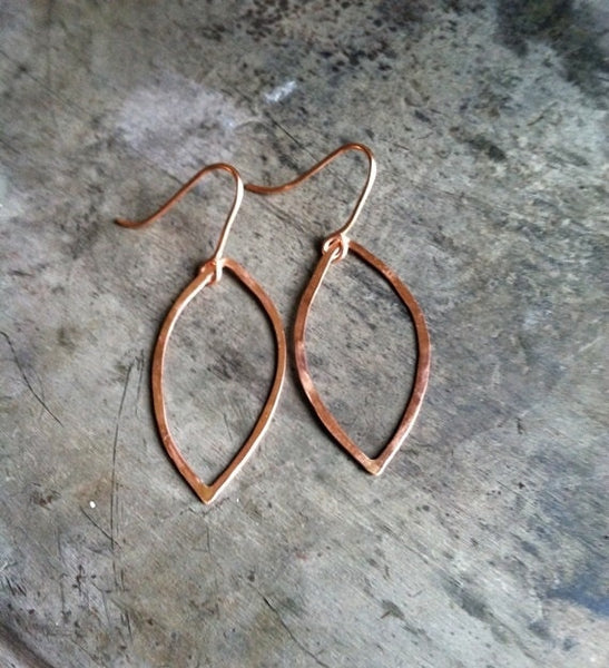 14k Rose Gold Hammered Leaf Earrings