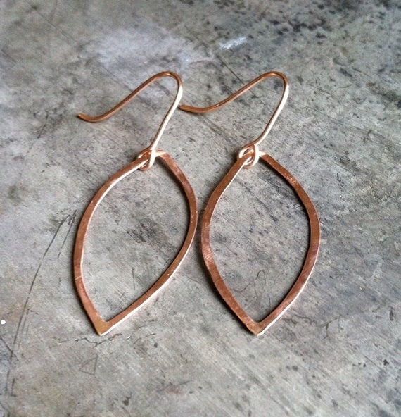 14k Rose Gold Hammered Leaf Earrings - Locabuy - Bijubee Jewelry - 1