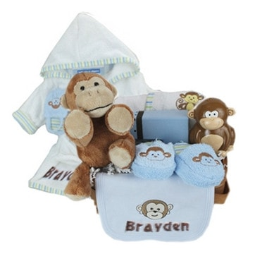 Personalized LIttle Monkey Gift Basket - Locabuy - Baby Gift Idea