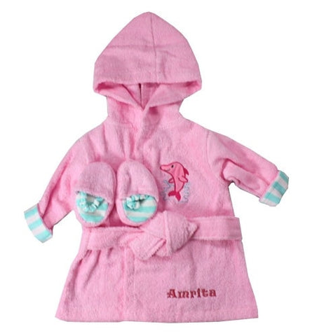 Embroidered Pink Sea Side Bathrobe & Slipper Set - Locabuy - Baby Gift Idea