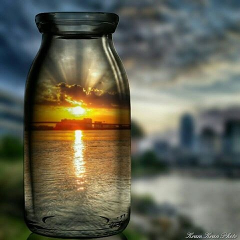 """Sunrise in a Bottle"" #1 Limited Edition 20x20 metallic canvas print - Locabuy - Kram Kran Photography - 1"