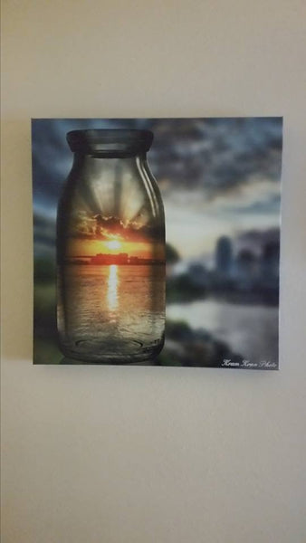 """Sunrise in a Bottle"" #1 Limited Edition 20x20 metallic canvas print"
