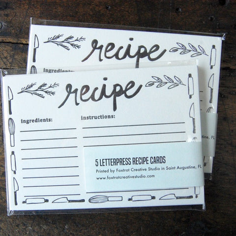 Recipe Cards - Utensils Design - Pack of 5 - Locabuy - Foxtrot Creative Studio