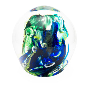 Large Paperweight Large Blue, Green & Aqua Chaos - SHAKSPEARE GLASS