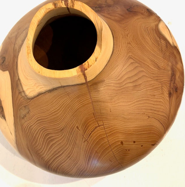 Paul Boak Robinia Yew Wood Hollow Form With Copper - SHAKSPEARE GLASS