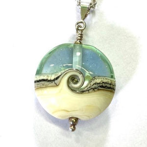 St Ives Glass Studio Small Aqua/Cream Beachy Pendant