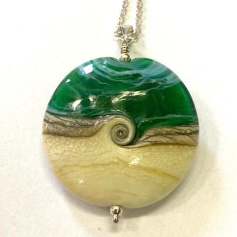 St Ives Glass Studio Large Green Swirl Pendant