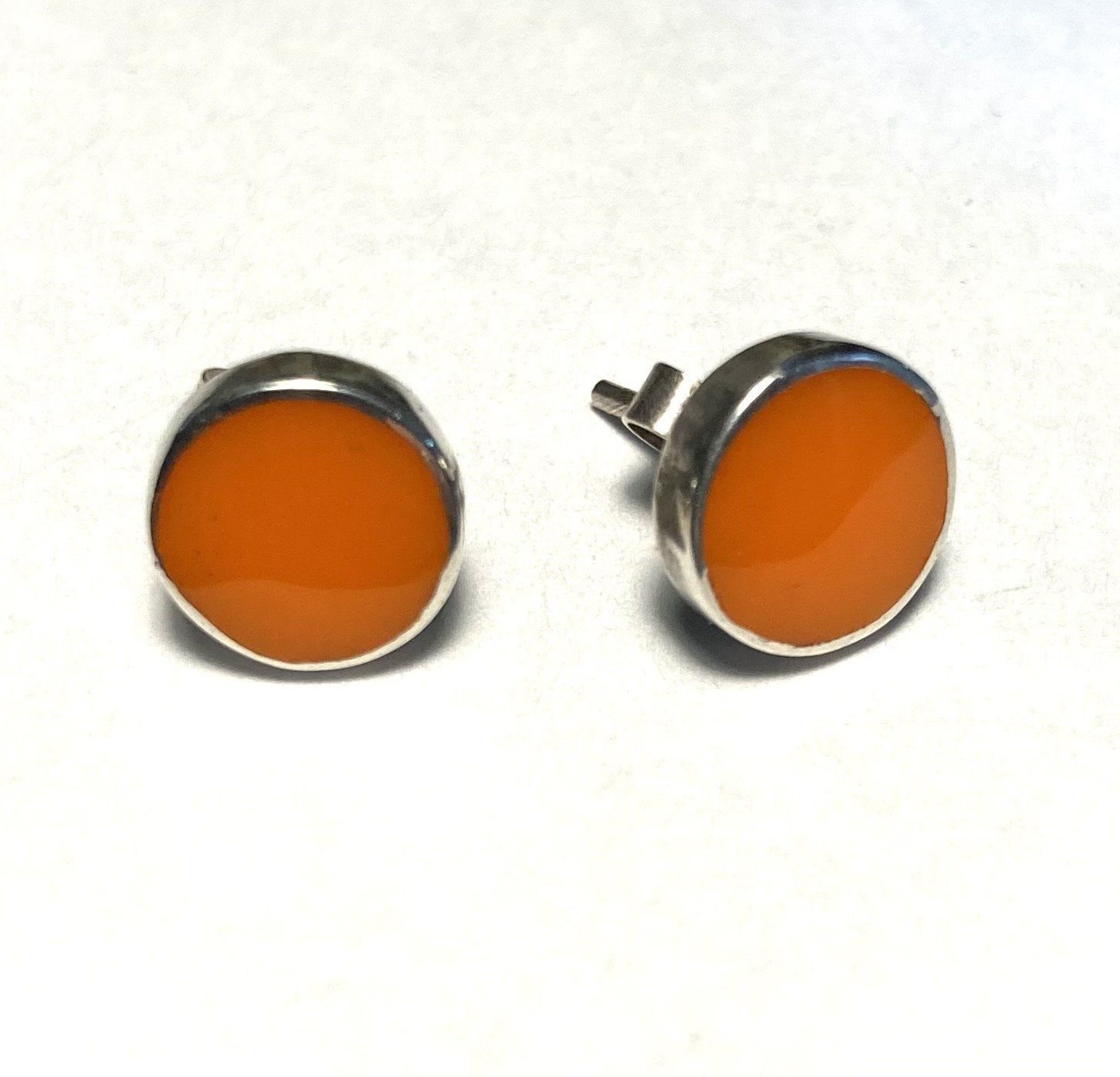 Holly Webb Orange Enamel and Silver Stud Earrings
